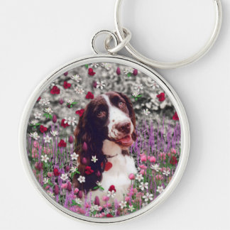 Lady in Flowers - Brittany Spaniel Dog Silver-Colored Round Keychain