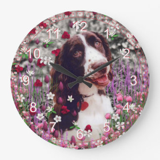 Lady in Flowers - Brittany Spaniel Dog Large Clock