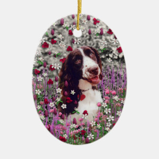 Lady in Flowers - Brittany Spaniel Dog Christmas Ornaments