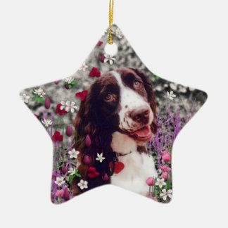 Lady in Flowers - Brittany Spaniel Dog Ornament