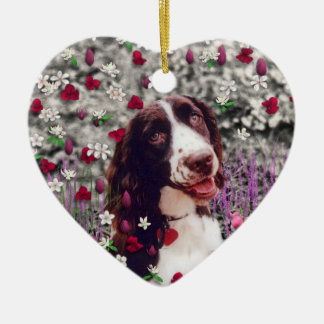 Lady in Flowers - Brittany Spaniel Dog Christmas Ornament