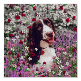 Lady in Flowers - Brittany Spaniel Dog Poster