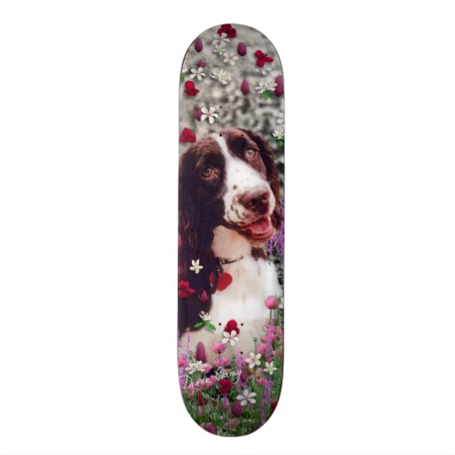 Lady in Flowers - Brittany Spaniel Dog Skate Deck