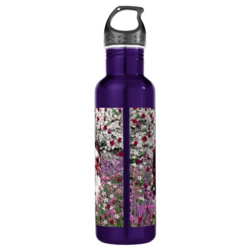 Lady in Flowers - Brittany Spaniel Dog Stainless Steel Water Bottle