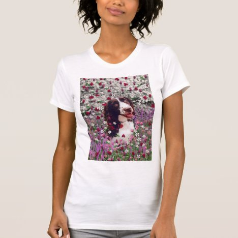 Lady in Flowers - Brittany Spaniel Dog T-Shirt