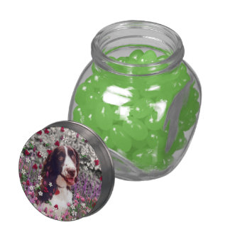 Lady in Flowers, Brittany Spaniel Puppy Dog Glass Jar