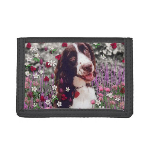 Lady in Flowers, Brittany Spaniel Puppy Dog Trifold Wallet
