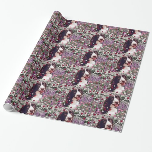 Lady in Flowers, Brittany Spaniel Puppy Dog Wrapping Paper