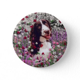 Lady in Flowers Button - Brittany Spaniel button