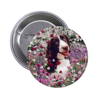 Lady in Flowers Button - Brittany Spaniel