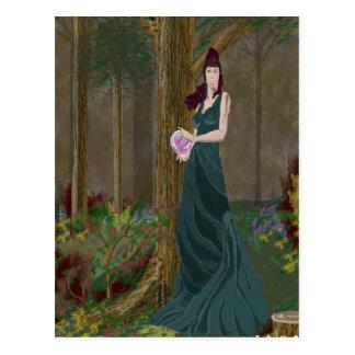 Lady in Forrest Green Dress Postcard