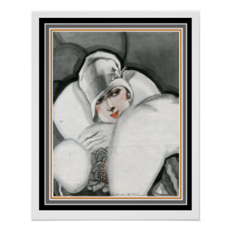 """""""Lady in Fur"""" Art Deco Poster 16 x 20"""