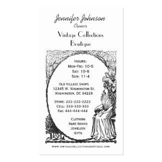 Lady in Garden Vintage Art Nouveau Filigree Business Card
