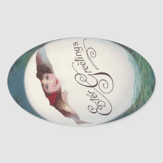 Lady in Giant Egg Vintage Easter Oval Sticker