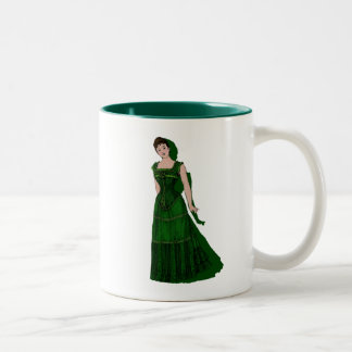 Lady in Green Corset Dress Coffee Mug