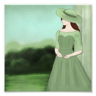 Lady in Green Gardens Illustration Photo Print