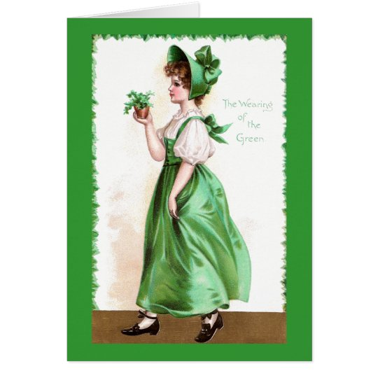 Lady in Green with Shamrocks Vintage St Patrick's Card