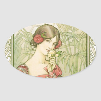 Lady in greenhouse oval sticker