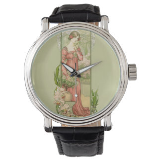Lady in greenhouse with flowers wristwatch