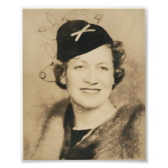 lady in hat 1930's photograph poster