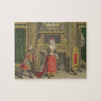 Lady in her bedroom, published c.1688-90 (coloured jigsaw puzzle
