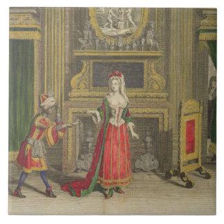Lady in her bedroom, published c.1688-90 (coloured tile