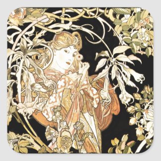 Lady in Jasmine Vines Square Sticker
