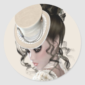 Lady In Lace Classic Round Sticker