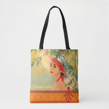 Beach Themed Lady in Orange Hat Tote Bag