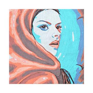 Lady In Orange Hood Canvas Print