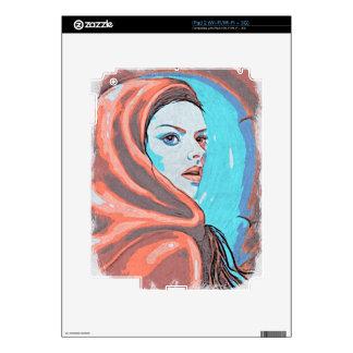 lady in orange hood decal for iPad 2