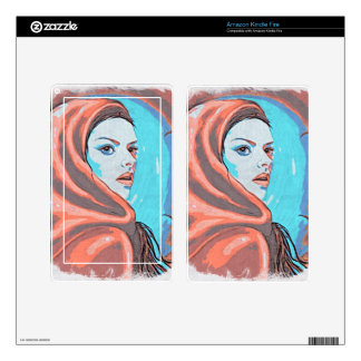 lady in orange hood kindle fire decals