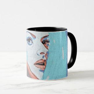 lady in orange hood mug