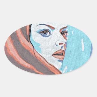 lady in orange hood oval sticker