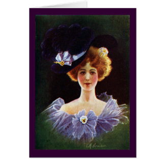 Lady in Orchid Dress with Pansy Pin Vintage Cards