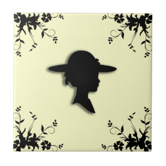 Lady in Picture Hat Vintage Silhouette Tile