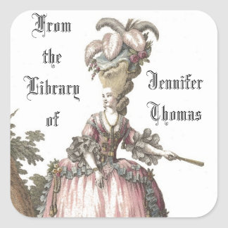 Lady In Pink Book Plate Sticker