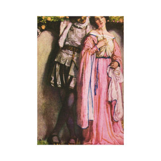 Lady In Pink Dress With A Gentleman Canvas Print