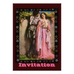 Lady In Pink Dress With A Gentleman Custom Invitations