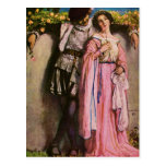 Lady In Pink Dress With A Gentleman Post Card