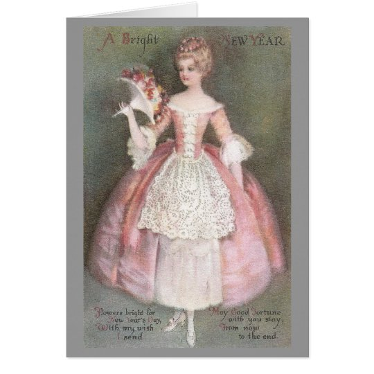 Lady in Pink Dress with Bouquet Vintage New Year Card