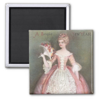 Lady in Pink Dress with Bouquet Vintage New Year 2 Inch Square Magnet