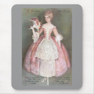 Lady in Pink Dress with Bouquet Vintage New Year Mouse Pad
