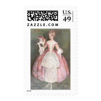 Lady in Pink Dress with Bouquet Vintage New Year Stamp
