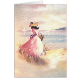 Lady in Pink on Beach Painting Card