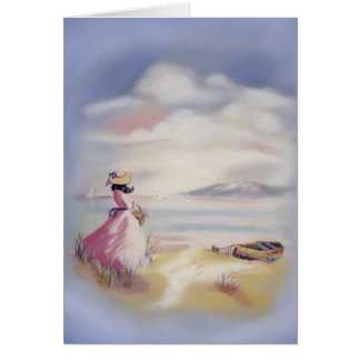 Lady in Pink on Beach Painting II Card