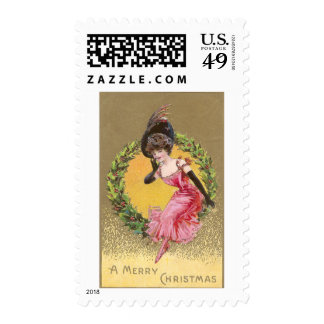 Lady in Pink Sitting on Holly Wreath Christmas Stamp