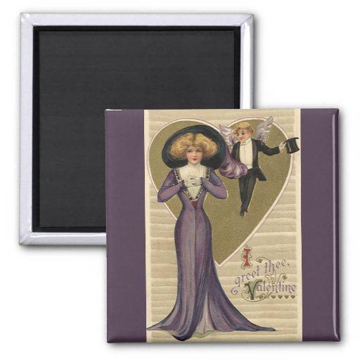 Lady in Purple Fridge Magnet