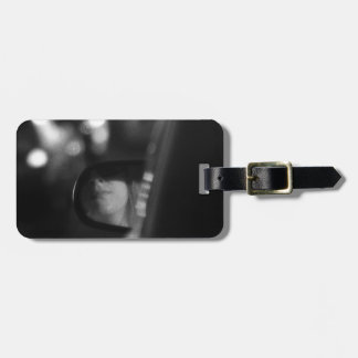 Lady In Rear View Mirror Black White Bag Tag