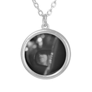 Lady In Rear View Mirror Black White Round Pendant Necklace
